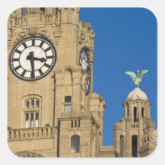 Liver Building, Liverpool, Merseyside, England Square Stickers