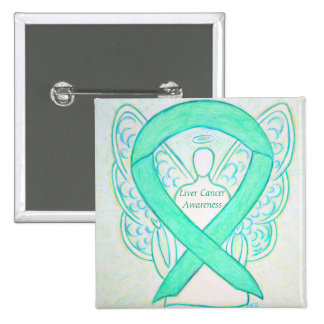 Liver Cancer Angel Jade Awareness Ribbon Art Pin
