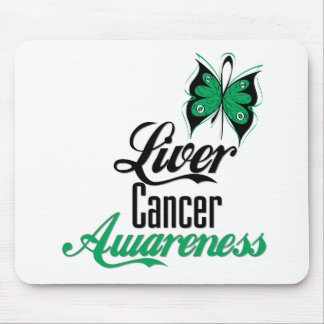 Liver Cancer Awareness Butterfly Mouse Pad