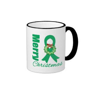 Liver Cancer Awareness Merry Christmas Ribbon Mugs
