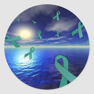 Liver Cancer Awareness Ribbons Over The Ocean Classic Round Sticker