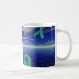 Liver Cancer Awareness Ribbons Over The Ocean Coffee Mug