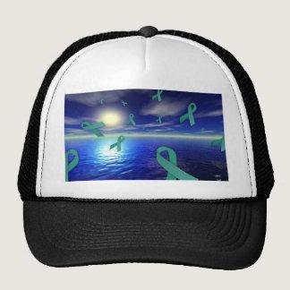 Liver Cancer Awareness Ribbons Over The Ocean Trucker Hat