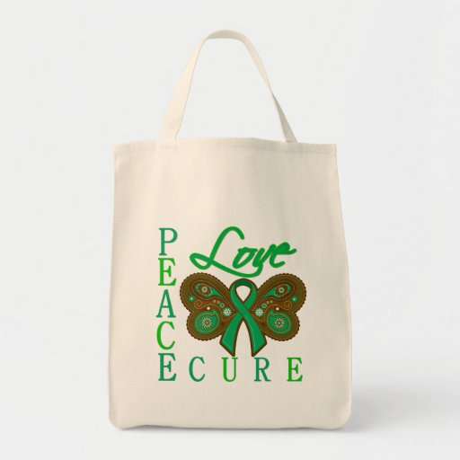 Liver Cancer Butterfly Peace Love Cure Canvas Bag