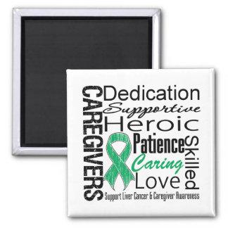 Liver Cancer Caregivers Collage 2 Inch Square Magnet