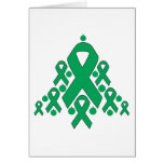 Liver Cancer Christmas Ribbon Tree Cards