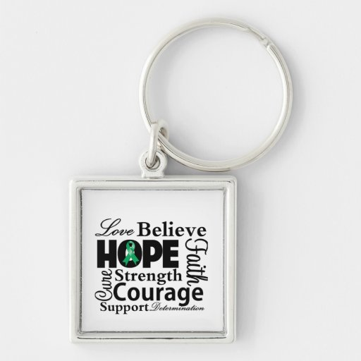 Liver Cancer Collage of Hope Silver-Colored Square Keychain