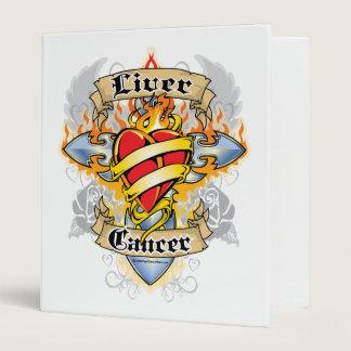 Liver Cancer Cross & Heart 3 Ring Binder