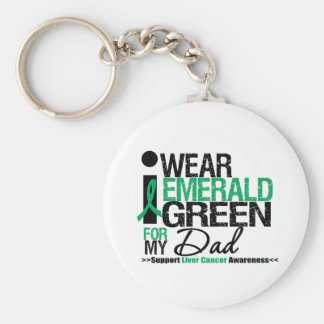 Liver Cancer Emerald Green Ribbon For My Dad Basic Round Button Keychain