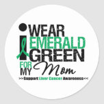 Liver Cancer Emerald Green Ribbon For My Mom Round Stickers