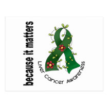 Liver Cancer Flower Ribbon 3 Postcard