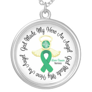 Liver Cancer God Made My Hero An Angel Round Pendant Necklace