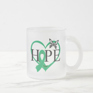 Liver Cancer Hope Butterfly Heart Décor 10 Oz Frosted Glass Coffee Mug