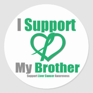 Liver Cancer I Support My Brother Round Stickers