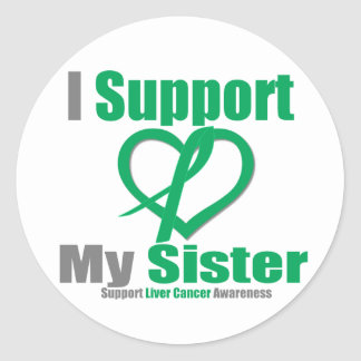 Liver Cancer I Support My Sister Round Stickers