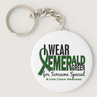 Liver Cancer I Wear E Green For Someone Special 10 Keychain