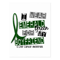 Liver Cancer I Wear Emerald For My Boyfriend 37 Postcard