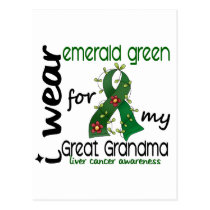Liver Cancer I Wear Emerald For My Great Grandma Postcard