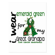 Liver Cancer I Wear Emerald For My Great Grandpa Postcard