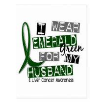 Liver Cancer I Wear Emerald For My Husband 37 Postcard