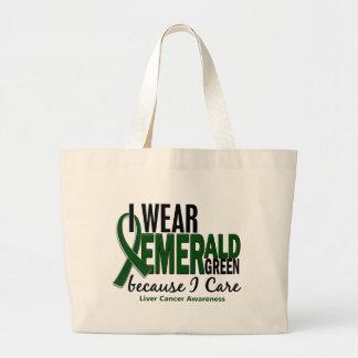 Liver Cancer I Wear Emerald Green Because I Care Large Tote Bag