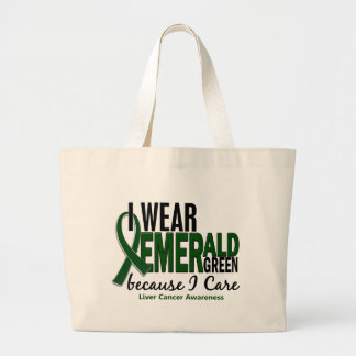 Liver Cancer I Wear Emerald Green Because I Care Large Tote Bag