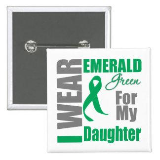 Liver Cancer I Wear Emerald Green Daughter Pinback Button