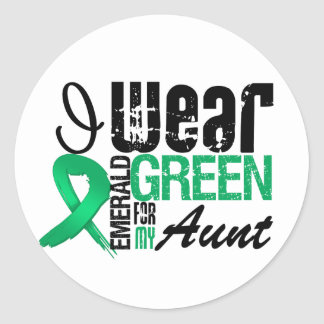 Liver Cancer I Wear Emerald Green For My Aunt Classic Round Sticker