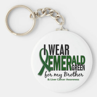 Liver Cancer I Wear Emerald Green For My Brother Keychain
