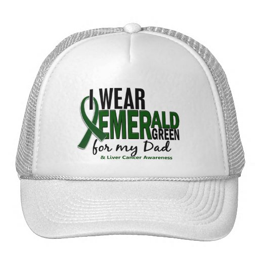 Liver Cancer I Wear Emerald Green For My Dad 10 Mesh Hats