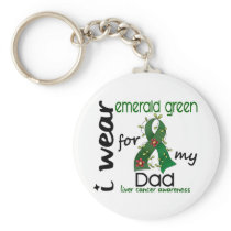 Liver Cancer I Wear Emerald Green For My Dad 43 Keychain