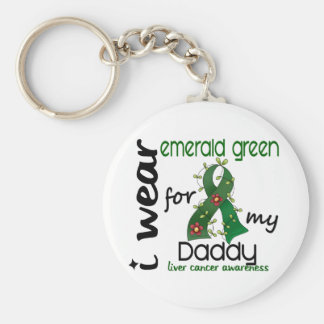 Liver Cancer I Wear Emerald Green For My Daddy 43 Keychain