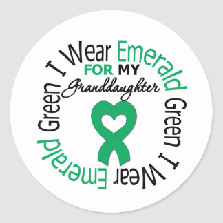 Liver Cancer I Wear Emerald Green For My Granddaug Stickers