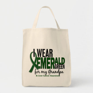 Liver Cancer I Wear Emerald Green For My Grandpa 1 Grocery Tote Bag