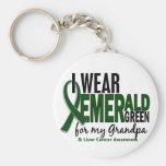 Liver Cancer I Wear Emerald Green For My Grandpa 1 Basic Round Button Keychain