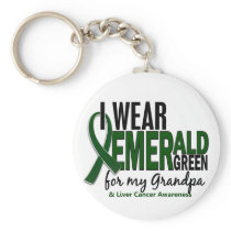 Liver Cancer I Wear Emerald Green For My Grandpa 1 Keychain