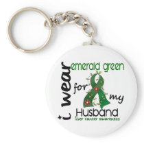 Liver Cancer I Wear Emerald Green For My Husband 4 Keychain
