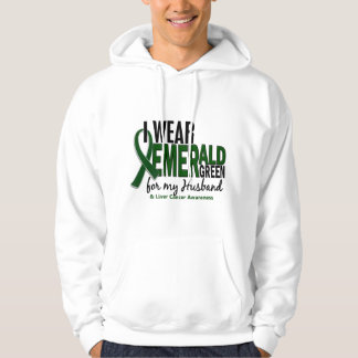 Liver Cancer I Wear Emerald Green For My Husband Hooded Sweatshirt