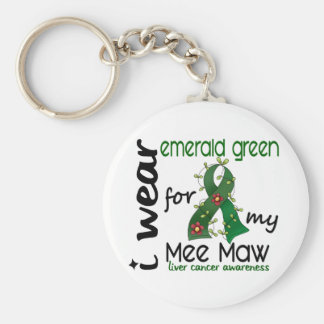 Liver Cancer I Wear Emerald Green For My Mee Maw Basic Round Button Keychain