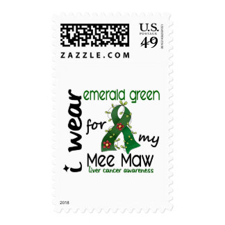 Liver Cancer I Wear Emerald Green For My Mee Maw Stamp