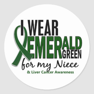 Liver Cancer I Wear Emerald Green For My Niece 10 Classic Round Sticker