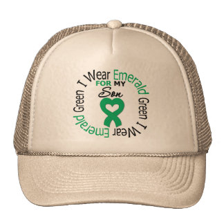Liver Cancer I Wear Emerald Green For My Son Trucker Hat