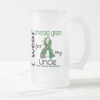 Liver Cancer I Wear Emerald Green For My Uncle 43 Frosted Glass Beer Mug