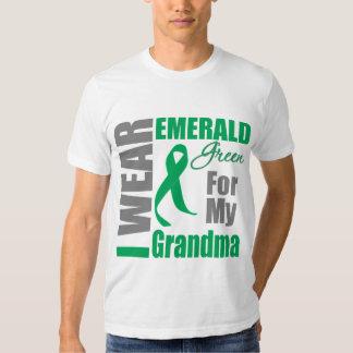 Liver Cancer I Wear Emerald Green Grandma Tee Shirt