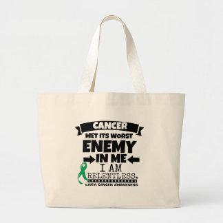 Liver Cancer Met Its Worst Enemy in Me Large Tote Bag