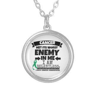 Liver Cancer Met Its Worst Enemy in Me Silver Plated Necklace