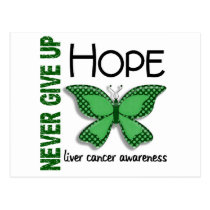 Liver Cancer Never Give Up Hope Butterfly 4.1 Postcard