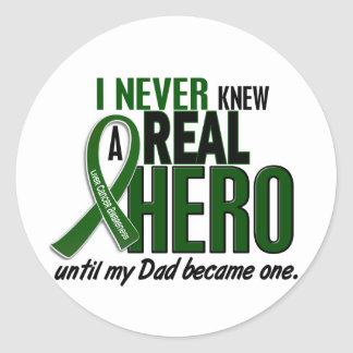 Liver Cancer NEVER KNEW A HERO 2 Dad Classic Round Sticker