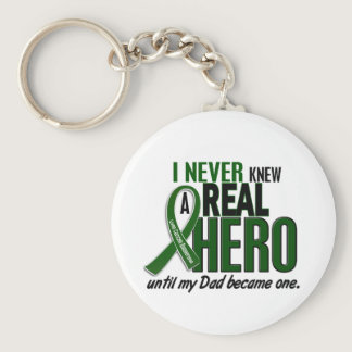 Liver Cancer NEVER KNEW A HERO 2 Dad Keychain