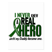 Liver Cancer NEVER KNEW A HERO 2 Daddy Postcard